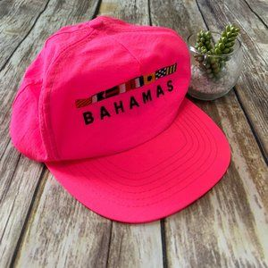 VTG 90s Bahamas Embroidered Neon Pink Snapback Hat